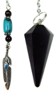 Obsidian & Feather Charm Pendulum