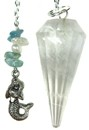 Quartz & Mermaid Charm Pendulum