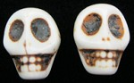Mini Cream Skull Bead (Pair)