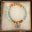 Amazonite & Palo Santo Bracelet with OM Lotus Charm [Handcrafted]