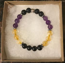 Amethyst, Citrine and Shungite Bracelet [Handcrafted]