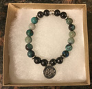 Shungite & Azurite Bracelet with Lotus Charm [Handcrafted]