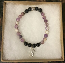Banded Amethyst, Lava Stone & Shungite Aromatherapy & Protection Bracelet with OM Charm [Handcrafted]
