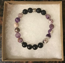 Banded Amethyst, Lava Stone & Shungite Aromatherapy & Protection Bracelet [Handcrafted]