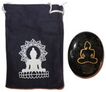 Printed Bag & Etched Gemstone (Larvakite Buddha)