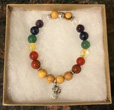 Chakra Palo Santo Bracelet with OM Charm [Handcrafted]