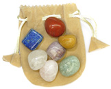 Tumbled Chakra Stones & Pouch (Gold)