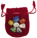 Tumbled Chakra Stones & Pouch (Red)