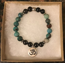 Chrysocolla & Shungite Bracelet with Om Charm [Handcrafted]