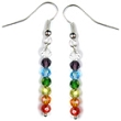 Czech Glass Chakra Earrings (Silver Metal)