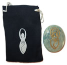 Printed Bag & Etched Gemstone (Amazonite Goddess)