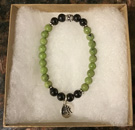 Jade and Shungite Protection Bracelet with OM Charm [Handcrafted]