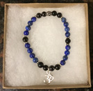 Lapis & Shungite Protection Bracelet with OM Charm [Handcrafted]