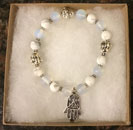 Blissful by Melissa Bracelet (Opalite & Howlite with Buddha & Hamsa Hand Charm)