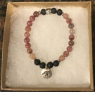 Muscovite & Lava Stone Aromatherapy Bracelet with Eye of Horus Charm [Handcrafted]