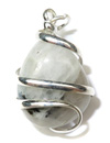 Spiral Wrapped Gemstone Pendant (White Rainbow Moonstone)