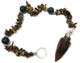 Gemstone Chip Bracelet Pendulum (Tiger Eye)