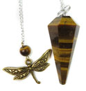 Tiger Eye & Dragonfly Charm Pendulum