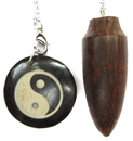 Wood Pendulum with Yin Yang Bone Charm