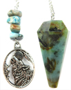 Chrysocolla Faceted Pendulum with Wolf Charm