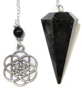 Nuummite Pendulum with Flower of Life Charm