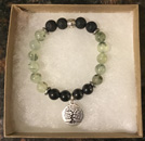 Prehnite, Lava Stone & Shungite Protection & Aromatherapy Bracelet with Tree of Life charm [Handcrafted]