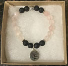 Rose Quartz & Lava Stone Aromatherapy Bracelet with Tree of Life Charm [Handcrafted]