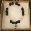 Rose Quartz & Lava Stone Aromatherapy Bracelet with OM Charm [Handcrafted]