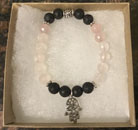 Rose Quartz & Lava Stone Aromatherapy Bracelet with Hamsa Hand Charm [Handcrafted]