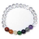 Stretchy Gemstone Bead Bracelet (Clear Quartz Chakra)