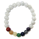 Stretchy Gemstone Bead Bracelet (White Rainbow Moonstone Chakra)