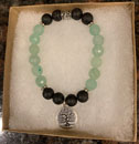 Green Aventurine & Lava Stone Aromatherapy Bracelet with Tree of Life Charm [Handcrafted]