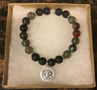 Bloodstone & Lava Stone Aromatherapy Bracelet with Eye of Horus Charm [Handcrafted]