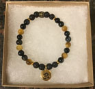 Blue Tiger's Eye & Lava Stone Aromatherapy Bracelet with OM Charm [Handcrafted]