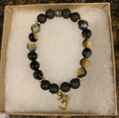 Blue Tiger Eye & Lava Stone Aromatherapy Bracelet with Om Charm [Handcrafted]