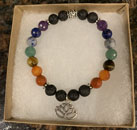 Chakra Stone Aromatherapy Bracelet with Lotus Charm [Handcrafted]
