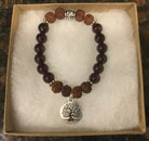 Garnet and Rudraksha Seed Bracelet with Tree of Life Charm [Handcrafted]