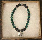 Malachite & Lava Stone Aromatherapy Bracelet with OM Charm [Handcrafted]