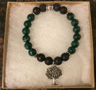 Malachite & Lava Stone Aromatherapy Bracelet with Tree of Life Charm. [Handcrafted]