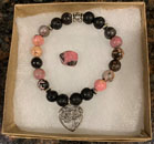 Rhodonite & Lava Stone Aromatherapy Bracelet with Heart Tree of Life Charm