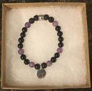 Shungite, Amethyst & Lava Stone Protection & Aromatherapy Bracelet with Eye of Horus Charm [Handcrafted]