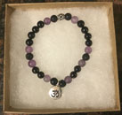 Shungite & Amethyst Bracelet with OM Charm [Handcrafted] (StyleA)