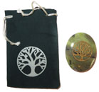 Printed Bag & Etched Gemstone (Serpentine Tree of Life)