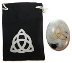 Printed Bag & Etched Gemstone (Moonstone Trinity Knot)