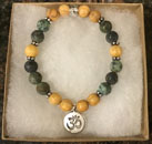 Turquoise & Palo Santo Aromatherapy Bracelet with Om Charm [Handcrafted]