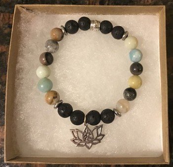 Amazonite & Lava Stone Aromatherapy Bracelet with OM Lotus Charm [Handcrafted]