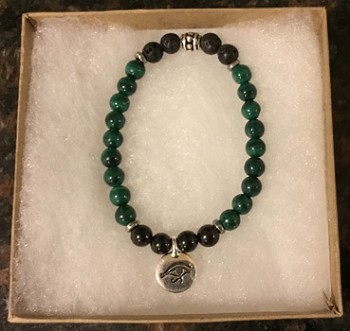 Malachite, Shungite & Lava Stone Aromatherapy and Protection Bracelet with Eye of Horus Charm [Handcrafted]