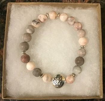 Blissful by Melissa Bracelet (Pink Zebra Jasper with Lotus Charm)