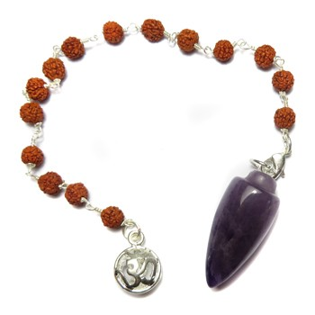 Amethyst Pendulum with Rudraksha Beads and Om Charm