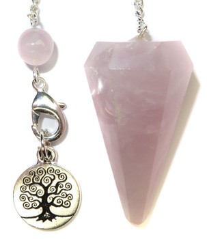 Rose Quartz Pendulum with Tree of Life Charm